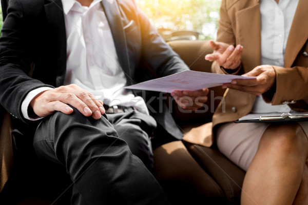 meeting in workplace concept, business people working with docum Stock photo © snowing