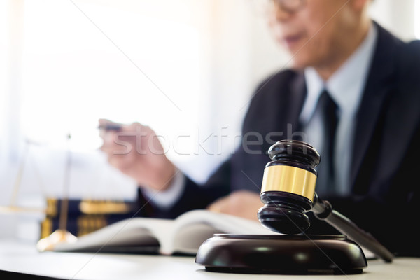 Marteau justice droit avocat travail bois Photo stock © snowing