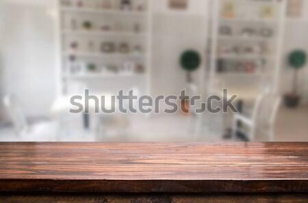 Stockfoto: Gekozen · focus · lege · bruin · houten · tafel · coffeeshop