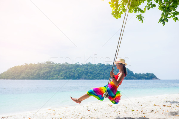 Outdoors lifestyle fashion portrait stunning young girl enjoying Stock photo © snowing