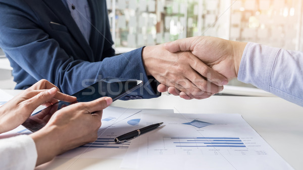 Business handshake of two men demonstrating their agreement to s Stock photo © snowing