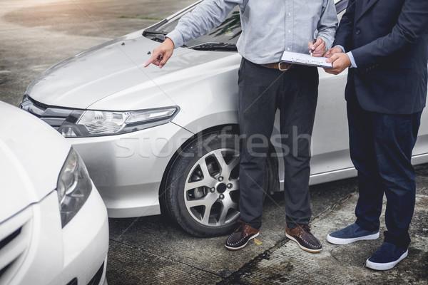 Verzekering agent schrijven onderzoeken auto Stockfoto © snowing