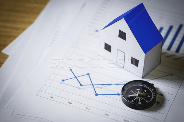Huis model kompas plan onroerend gebouw Stockfoto © snowing