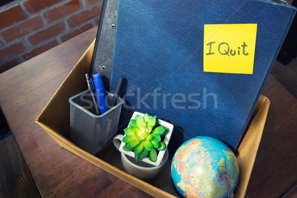 office cardboard box .employee dismissed from office, resignatio Stock photo © snowing