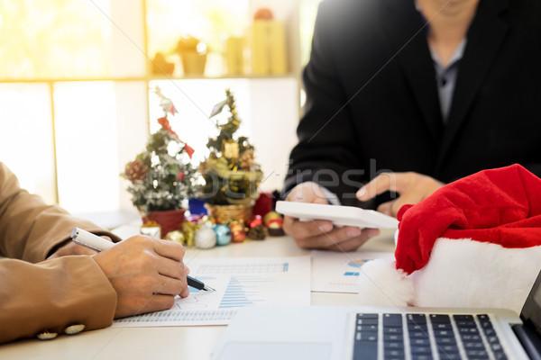 Photo stock: Heureux · gens · d'affaires · célébrer · Noël · bureau