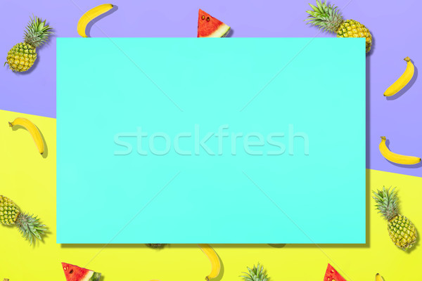 Pattern of fresh summer sweet fruit for holiday concept flat lay Stock photo © snowing