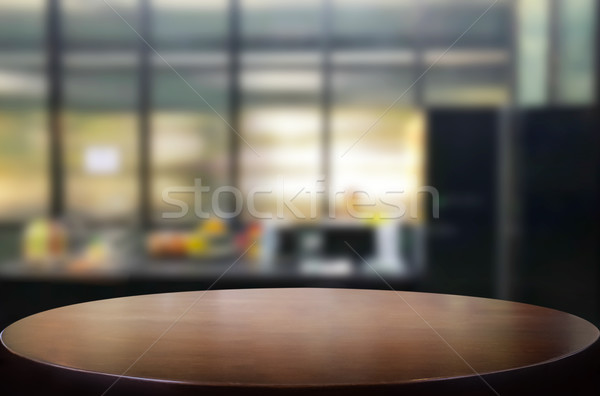Wood table top on blur kitchen or cafe room background .For mont Stock photo © snowing