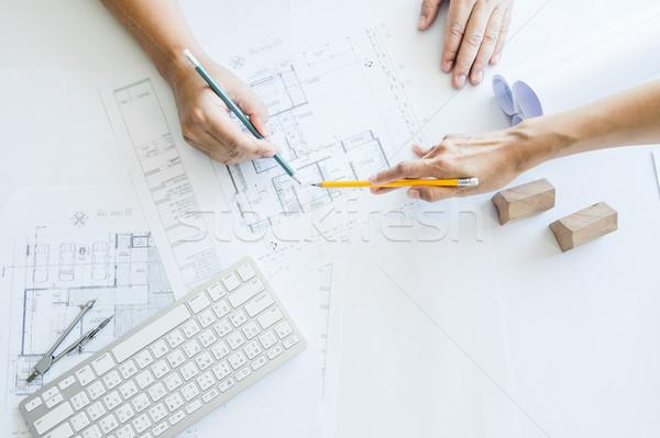 Stockfoto: Team · mensen · groep · plaats · controleren · documenten