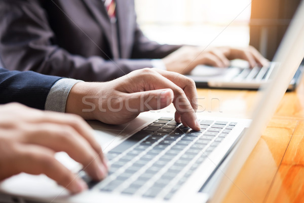Stockfoto: Zakenman · team · werken · digitale · computer