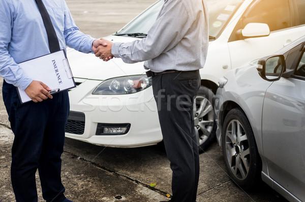 Foto stock: Cliente · tremer · mão · automático · seguro · carro