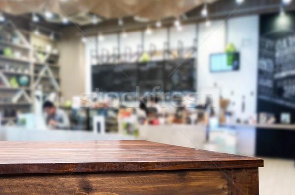 Kiválasztott fókusz üres barna fa asztal kávéház Stock fotó © snowing