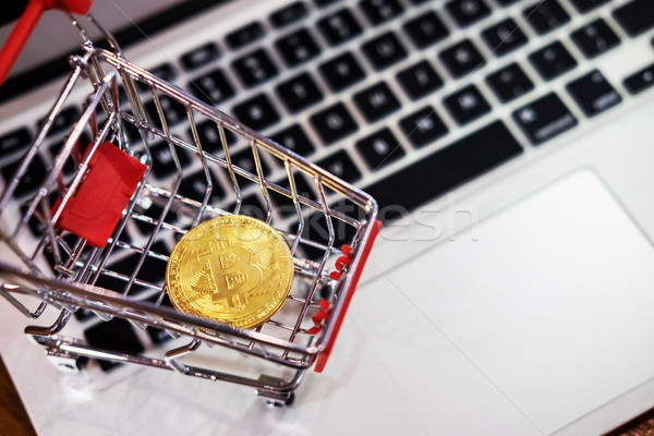 golden metal Bitcoin crypto currency investment- symbolic block  Stock photo © snowing