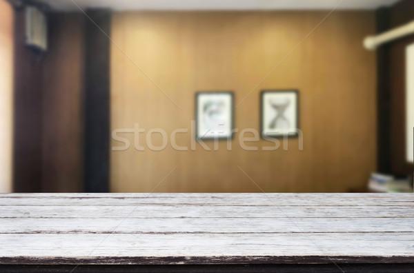 Fa deszka üres asztal űr vágány elmosódott Stock fotó © snowing