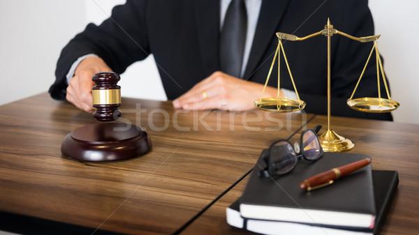 Сток-фото: мужчины · судья · адвокат · молоток · таблице