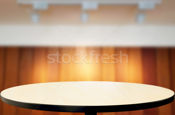 Empty wood table and blurred booked cafe light background. produ Stock photo © snowing