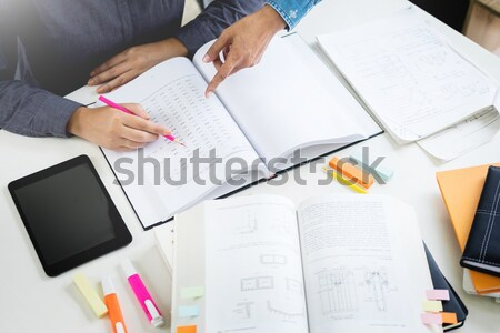 Young students campus helps friend catching up and learning tuto Stock photo © snowing