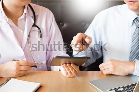 Egészségügy kórház gyógyszer orvos beteg mér Stock fotó © snowing
