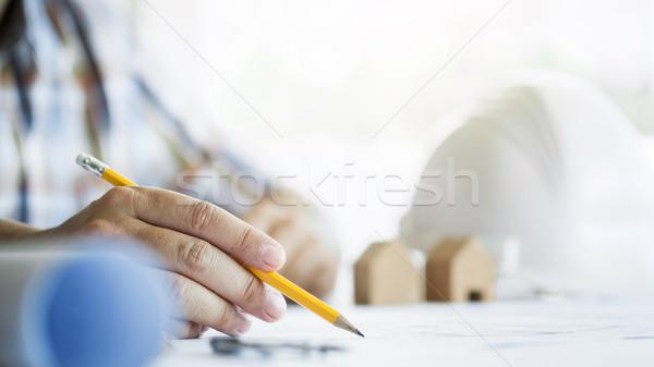 Közelkép személyek kéz rajz terv kék Stock fotó © snowing