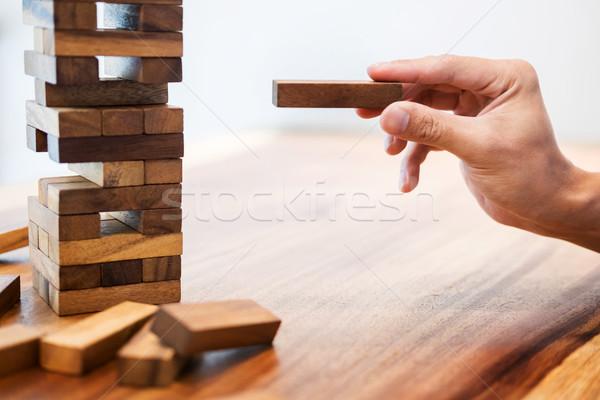 деловой человек башни риск контроль планирования Сток-фото © snowing