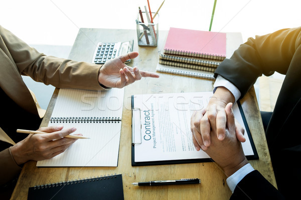 Young business team working with new startup project offering co Stock photo © snowing