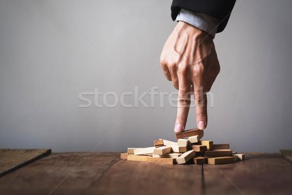 Kéz üzletember felfelé játék fából készült Goa Stock fotó © snowing