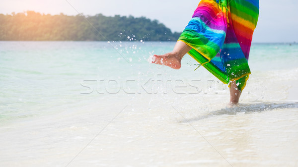 Belle insouciance femme détente plage Photo stock © snowing