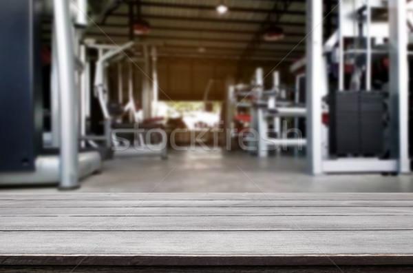 Fa asztal elmosódott fitnessz tornaterem belső modern Stock fotó © snowing
