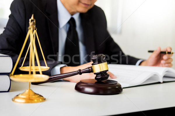 gavel and sound block of justice law and lawyer working on woode Stock photo © snowing