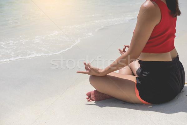 Photo stock: Jeune · femme · yoga · méditation · plage · détente · séance
