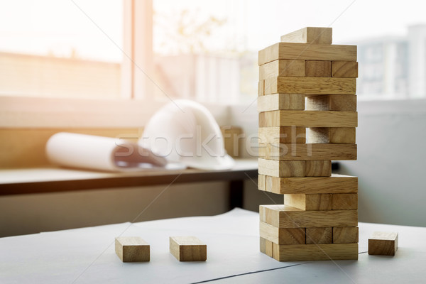 the blocks wood tower game with architectural engineer plans or  Stock photo © snowing