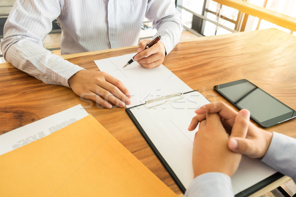 Close-up Of Businessperson Signing Contract,woman writing paper  Stock photo © snowing