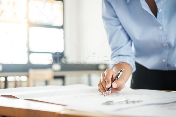 Personen Ingenieur Hand Zeichnung Plan blau Stock foto © snowing