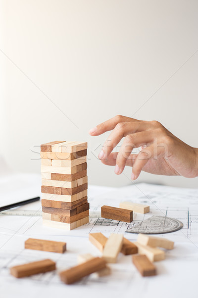 Planning, risk and strategy in business, businessman and enginee Stock photo © snowing