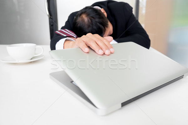Feeling sick and tired. Frustrated middle aged businessman sitti Stock photo © snowing