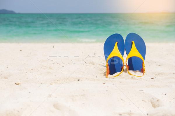 Tengerpart szandál homokos tenger part nyári szabadság Stock fotó © snowing