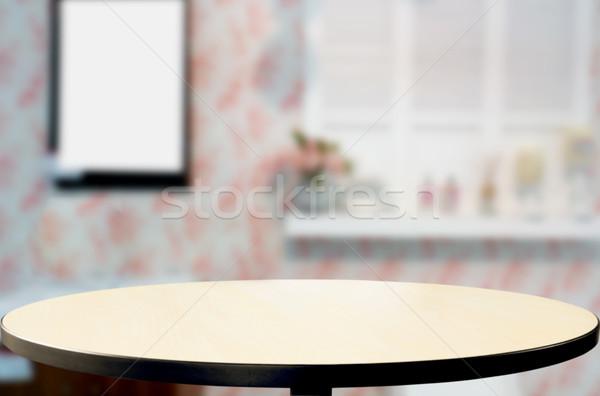Selecionado foco vazio marrom mesa de madeira café Foto stock © snowing