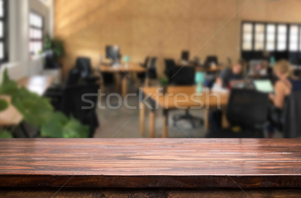 Selecionado foco vazio marrom mesa de madeira escritório Foto stock © snowing