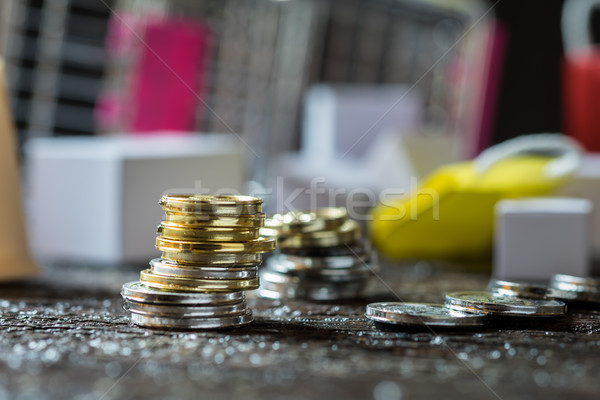 Coins stacked on each other in different positions. Money concep Stock photo © snowing