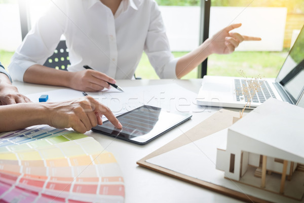 Stock photo: Creative or Interior designers teamwork with pantone swatch and