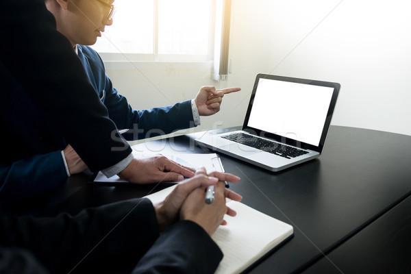 Fiatalember dolgozik üzletember asztali számítógép üzlet technológia Stock fotó © snowing