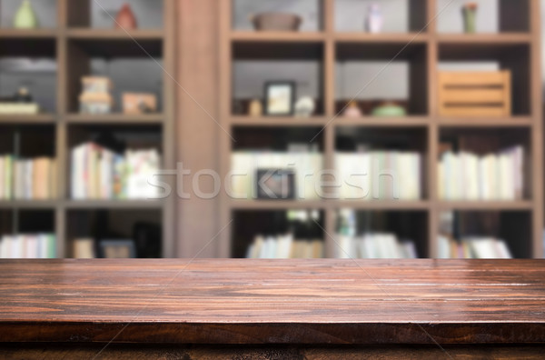 Wooden board empty table space platform in front of blurred libr Stock photo © snowing