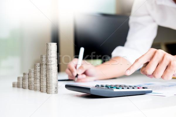 Foto stock: Moedas · negócio · contabilidade · dinheiro · calculadora