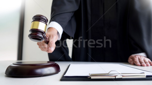 Сток-фото: мужчины · судья · адвокат · молоток · книга