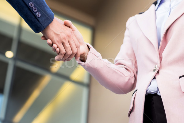 Closeup friendly meeting handshake between business woman and  b Stock photo © snowing