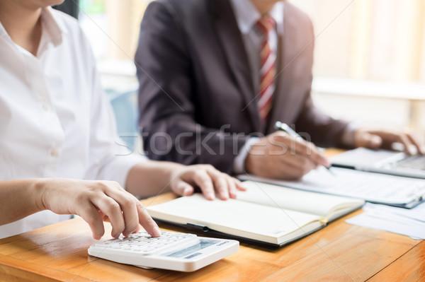 Foto stock: Administrador · homem · de · negócios · financeiro · secretário · relatório