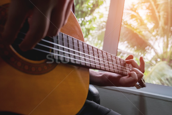 Acoustic guitar guitarist playing. Musical instrument with perfo Stock photo © snowing