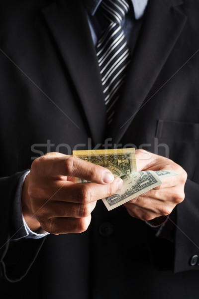 business concept, Businessman counting money stack of dollars in Stock photo © snowing
