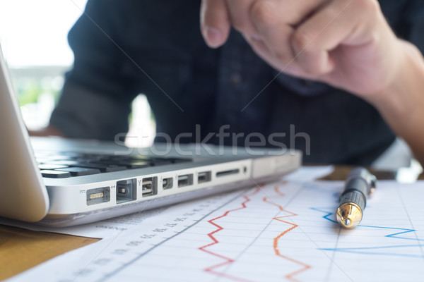 Photo businessman working on modern loft office. Man sitting woo Stock photo © snowing