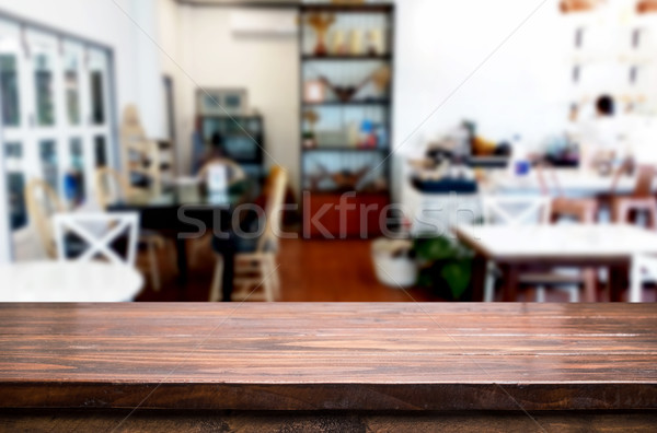 Selected focus empty brown wooden table and Coffee shop or resta Stock photo © snowing