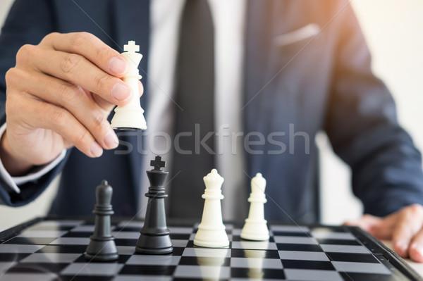 Zakenman leider geslaagd business schaken Stockfoto © snowing